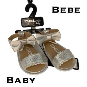 Baby Bebe Metallic Silver Sandals Size 0-3 Months